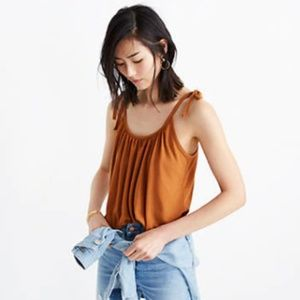 Madewell Gathered Neck Tank Top in Burnt Sienna